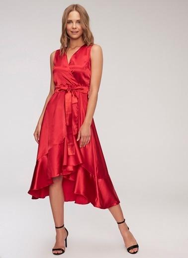 People By Fabrika Saten Elbise Kırmızı